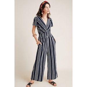 Anthropologie striped jumpsuit